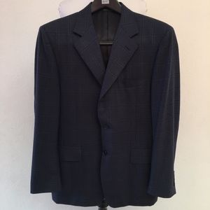 Canali Mens Blue Check Sports Coat Size 38 Short